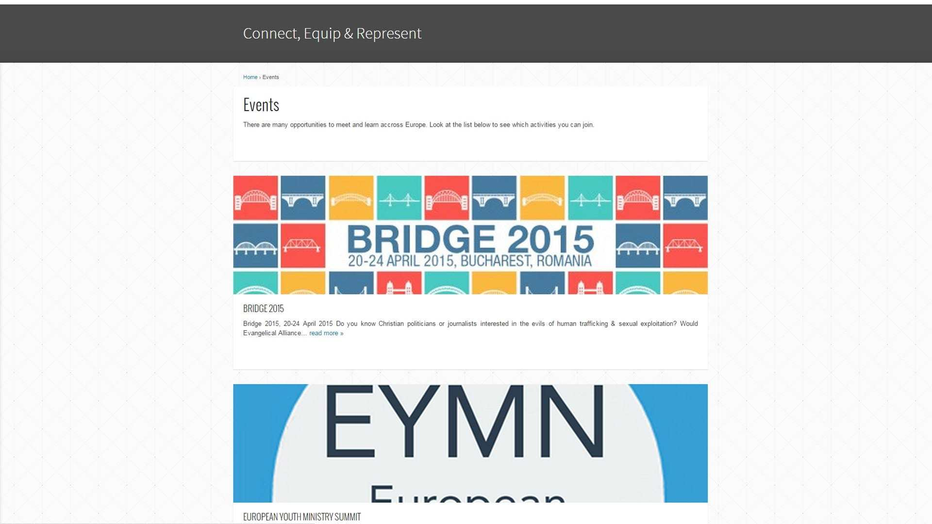 EEA Events Page as designed and developed by Michiel Tramper
