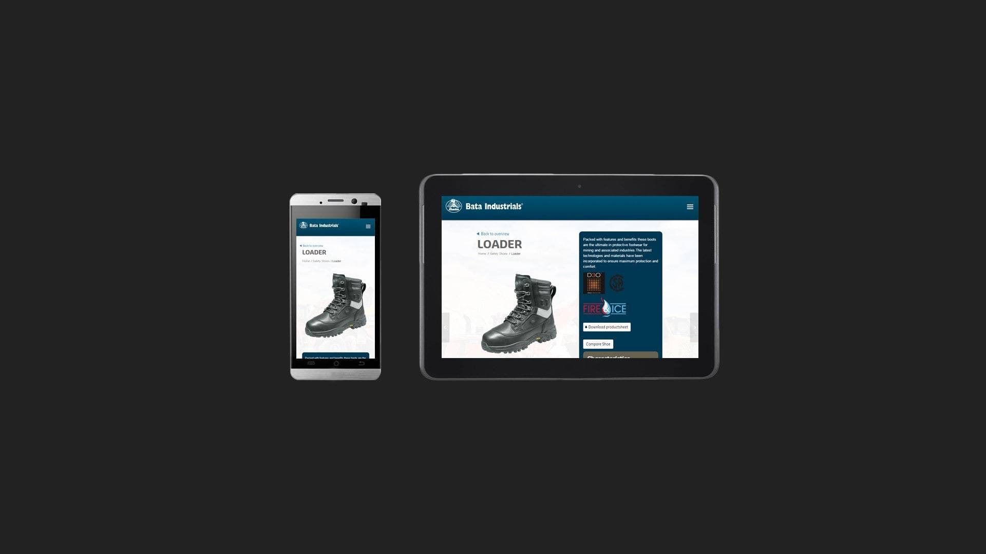 Bata Industrials Safety Shoes Website for Mobile and Tablets