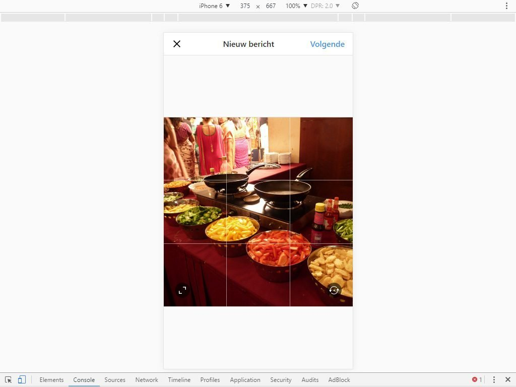Uploading and cropping an image in Instagram on a computer.